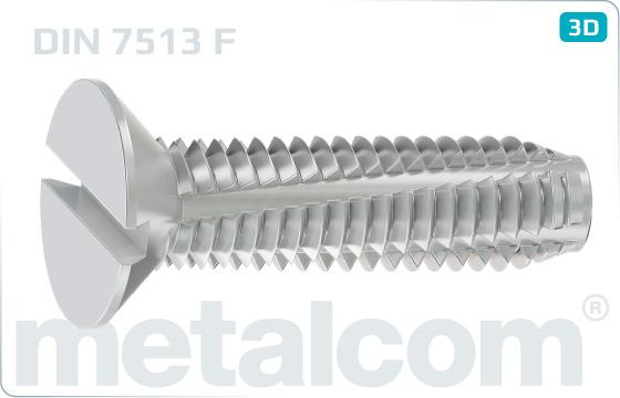 Šrouby závitořezné se zápustnou hlavou a drážkou - DIN 7513 F
