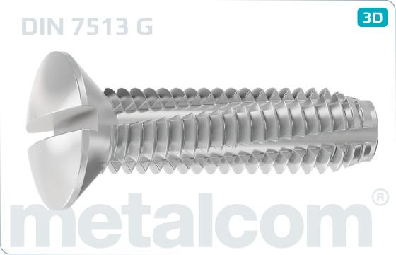 Skrutky závitorezné so zápustnou hlavou šošovkovou a drážkou - DIN 7513 G
