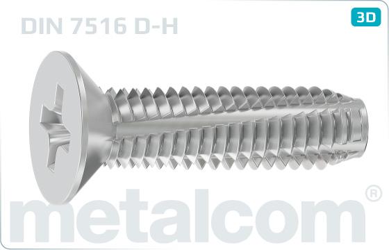 Thread-cutting screws cross recessed countersunk head - DIN 7516 D-H