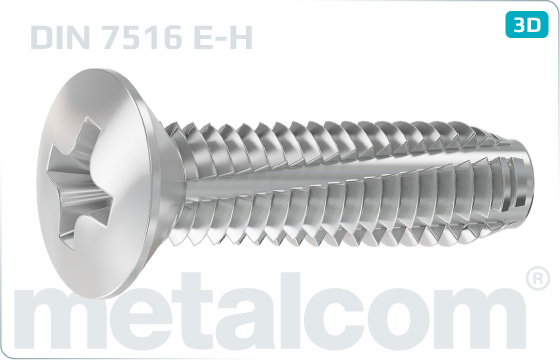 Thread-cutting screws cross recessed raised countersunk head - DIN 7516 E-H