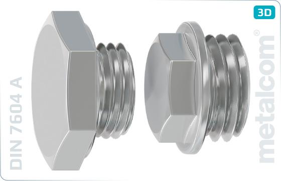 Šrouby se šestihrannou hlavou zátky s krátkým válcovým závitem - DIN 7604 A