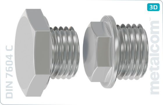 Skrutky so šesťhrannou hlavou zátky s dlhým valcovým závitom - DIN 7604 C