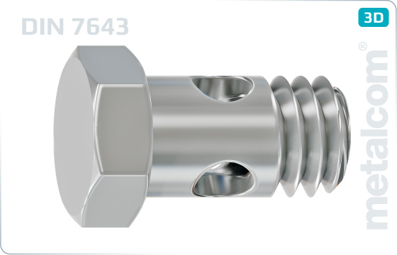 Śruby z łbem sześciokątnym śruba z gwintem częściowym i otworami w trzpieniu nad gwintem - DIN 7643