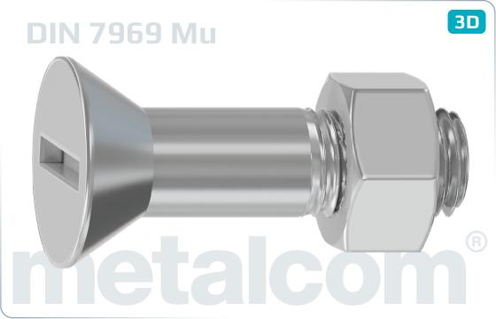 Śruby z nacięciem prostym z łbem wpuszczonym do konstrukcji stalowych - DIN 7969
