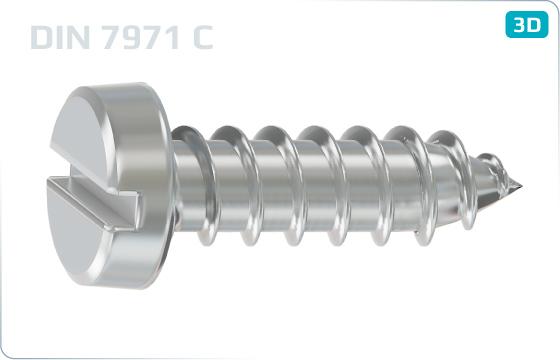 Skrutky do plechu s valcovou hlavou a priebežnou drážkou - DIN 7971 C