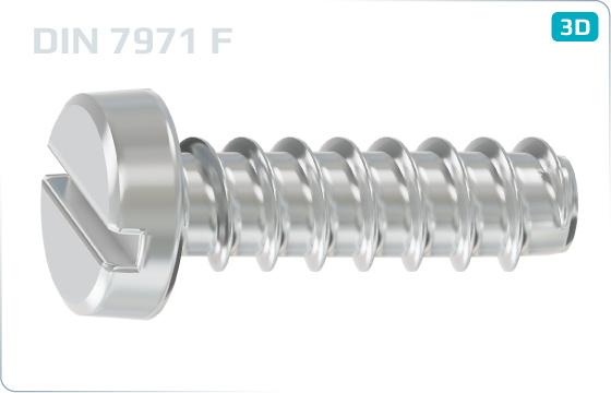 Skrutky do plechu s valcovou hlavou a priebežnou drážkou - DIN 7971 F