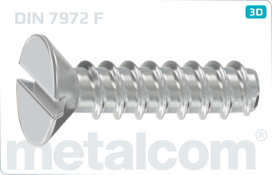 Tapping screws slotted countersunk head - DIN 7972 F