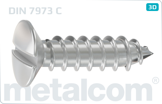 Tapping screws slotted raised countersunk head - DIN 7973 C