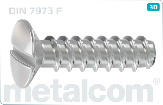 Tapping screws slotted raised countersunk head - DIN 7973