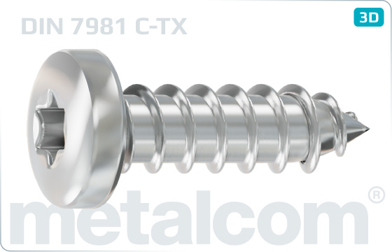 Tapping screws hexalobular internal drive (TORX) pan head - DIN 7981
