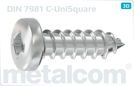 Šrouby do plechu s válcovou hlavou a čtvercovou drážkou kombinovanou - DIN 7981 C-UniSquare