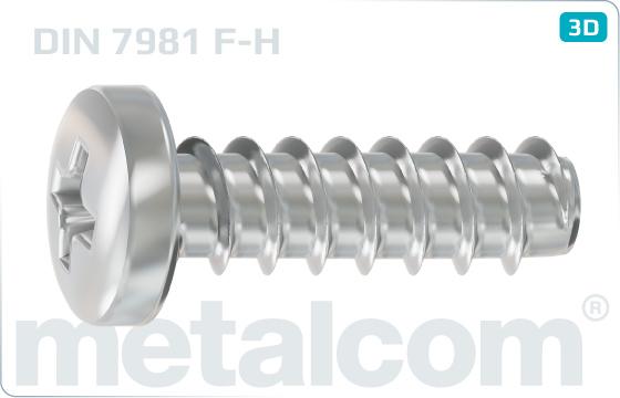 Tapping screws cross recessed pan head - DIN 7981 F-H