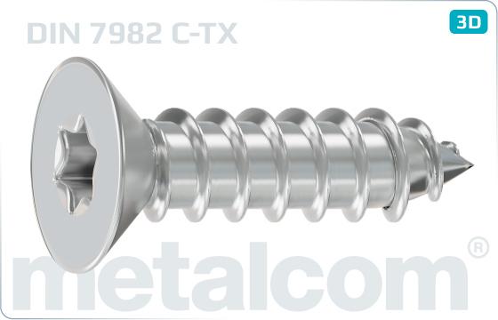 Tapping screws hexalobular internal drive (TORX) countersunk head - DIN 7982