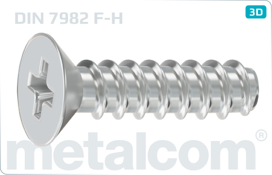 Tapping screws cross recessed countersunk head - DIN 7982 F-H