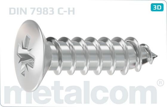 Tapping screws cross recessed raised countersunk head - DIN 7983 C-H