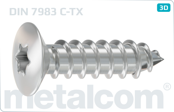 Tapping screws hexalobular internal drive (TORX) raised countersunk head - DIN 7983