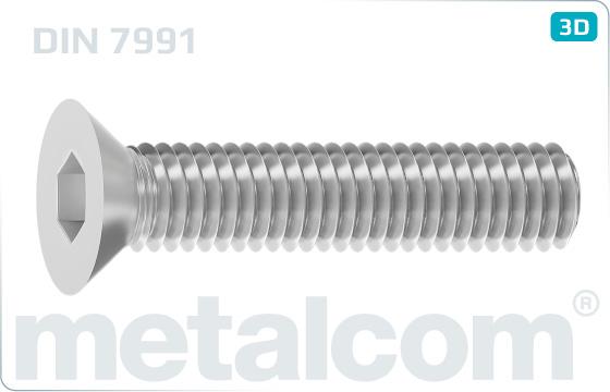 Śruby z wgłębieniem sześciokątnym z łbem wpuszczonym - DIN 7991
