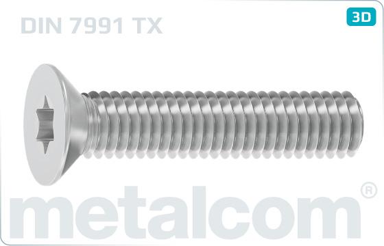 Śruby z rowkiem TORX z łbem wpuszczonym - DIN 7991 TX