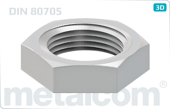 Hexagon nuts thin with small width across flats - DIN 80705