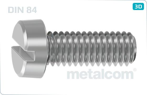 Skrutky s priebežnou drážkou a valcovou hlavou - DIN 84