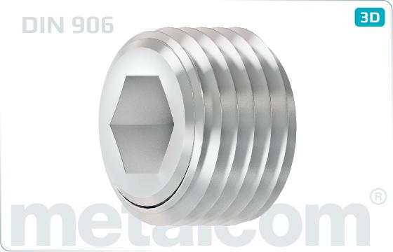 Skrutky s vnútorným šesťhranom zátky s kužeľovým závitom - DIN 906