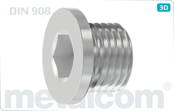 Hexagon socket screws plugs, cyl. thread - DIN 908