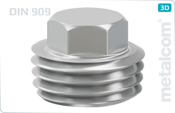 Skrutky so šesťhrannou hlavou zátky s kužeľovým závitom - DIN 909