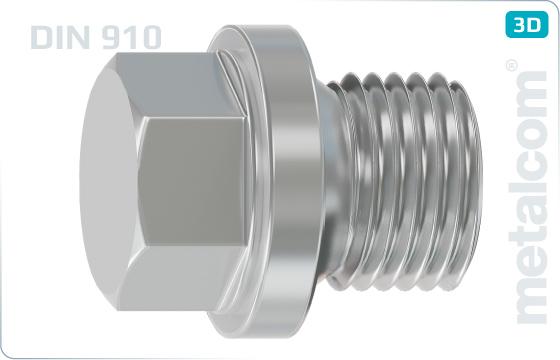 Šrouby se šestihrannou hlavou zátky s válcovým závitem - DIN 910