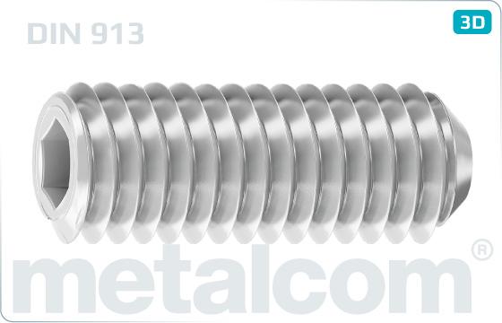 Skrutky nastavovacie s vnútorným šesťhranom a kužeľovým koncom - DIN 913
