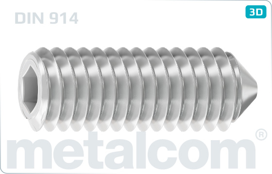Wkręty dociskowe z gniazdem sześciokątnym i końcem stożkowym - DIN 914