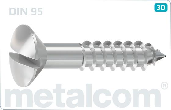 Wood screws slotted raised countersunk head - DIN 95