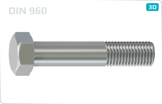 Hexagon head bolts with metric fine thread - DIN 960