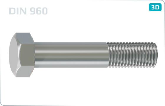 Skrutky so šesťhrannou hlavou a čiastočným jemným metrickým závitom - DIN 960