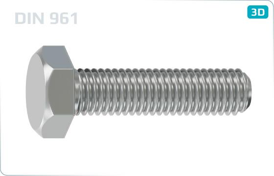 Šrouby se šestihrannou hlavou a jemným metrickým závitem k hlavě - DIN 961