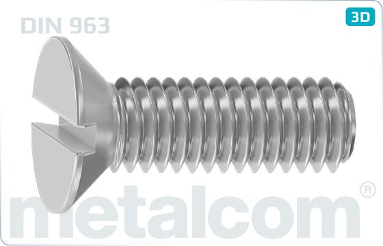 Šrouby s průběžnou drážkou a zápustnou hlavou - DIN 963
