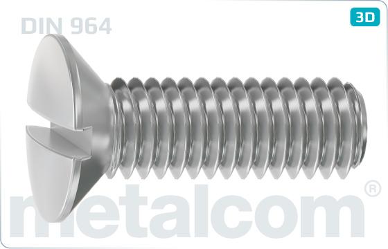 Śruby z nacięciem prostym z łbem stożkowym soczewkowym - DIN 964
