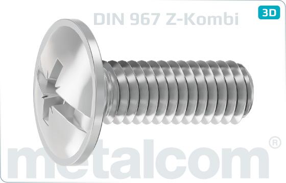 Śruby z nacięciem krzyżowym kombinowaną i z łbem półkulistym i koł nierzem - DIN 967
