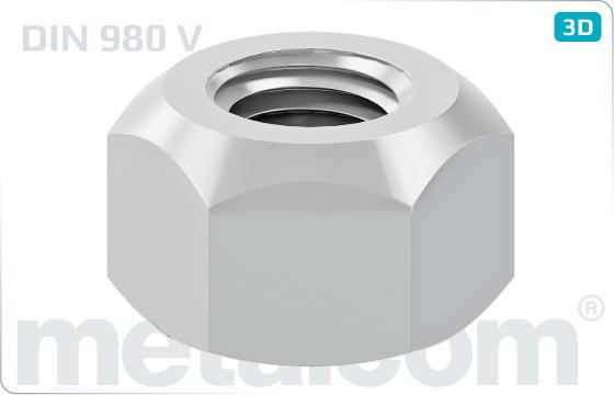 Nakrętki sześciokątne samozabezpieczające z gwintem odkształconym - DIN 980 V