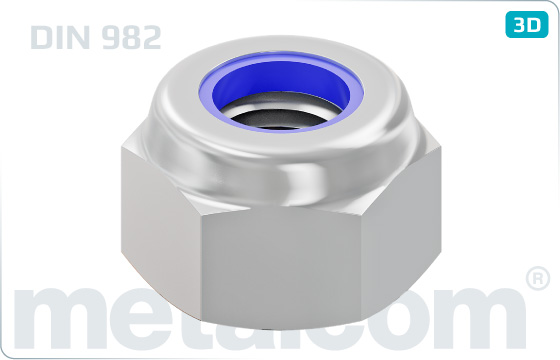 Hexagon nuts prevailing torque type, heavy with nylon insert - DIN 982