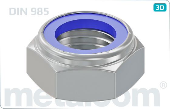 Hexagon nuts prevailing torque type, low with nylon insert - DIN 985