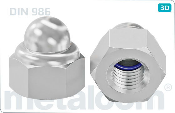Cap nuts prevailing torque type with nylon insert - DIN 986