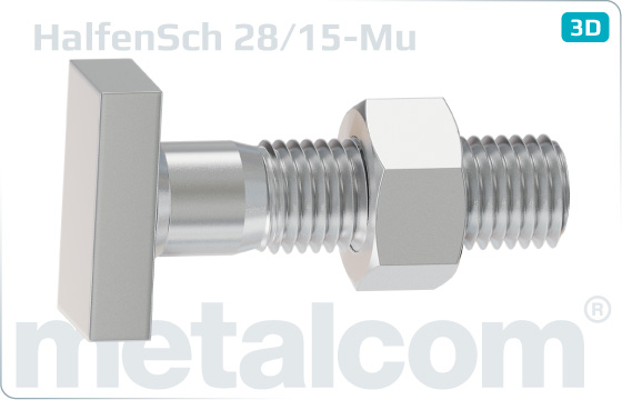 T-head bolts for Halfen channels type 28/15 with hexagon nut