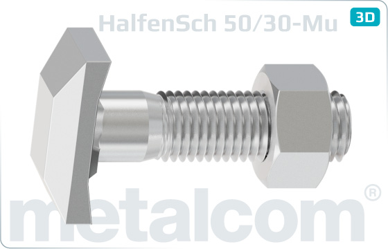 T-head bolts for Halfen channels type 50/30 with hexagon nut