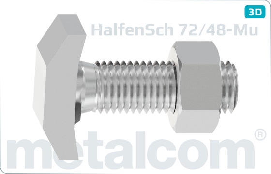 T-head bolts for Halfen channels type 72/48 with hexagon nut