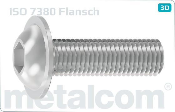 Śruby z wgłębieniem sześciokątnym z łbem płaskim i kołnierzem - ISO 7380