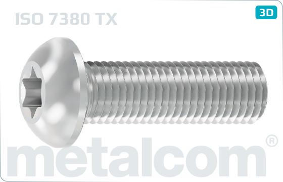 Hexalobular internal drive (TORX)screws button head - ISO 7380 TX