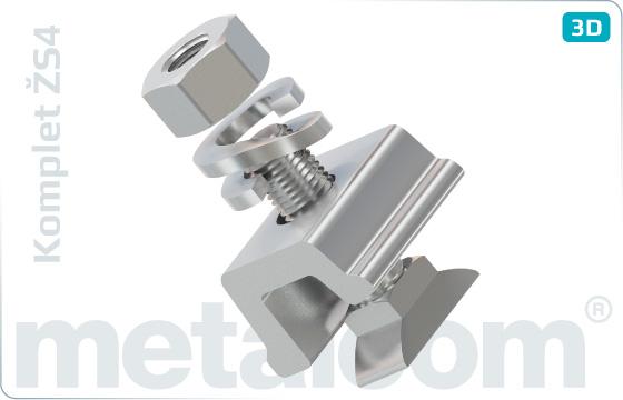 Komplety Zacisk ŽS4 DK-4-309-93, śruba RS1 K102457, nakrętka M24 K052487D, podkładka 25 UIC 864-3V - KompletŽS4