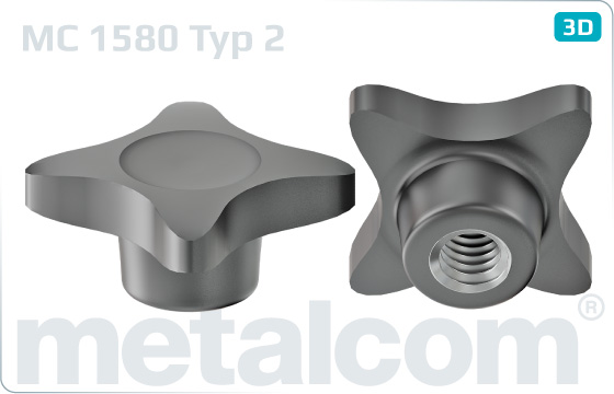 Hand-tightened nuts with cross head - Typ 2