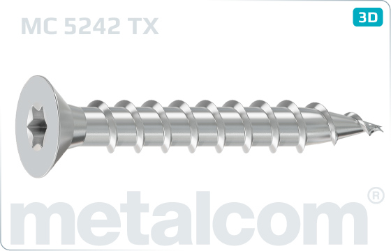 Chipboard screws hexalobular internal drive (TORX) countersunk head - TX