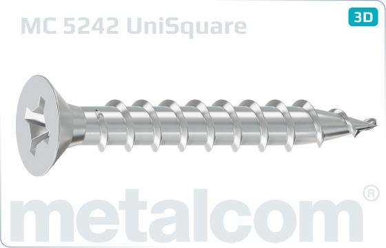 Chipboard screws square and cross recessed countersunk head - UniSquare